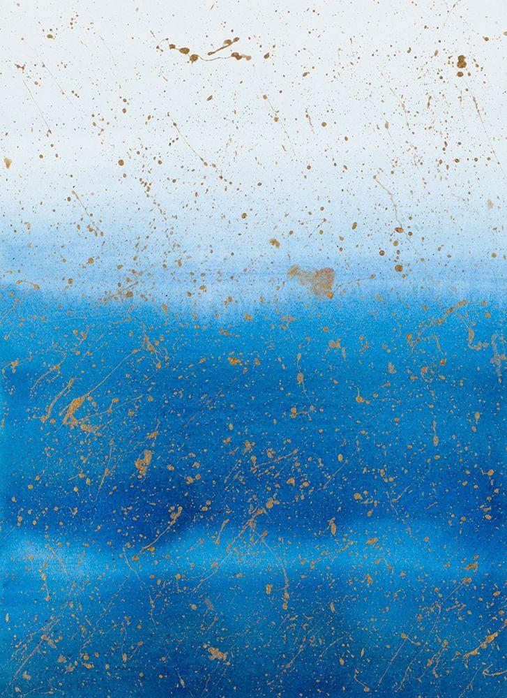 konfigurieren des Kunstdrucks in Wunschgröße Gold Splash on Blue von Bucheli, Amaya