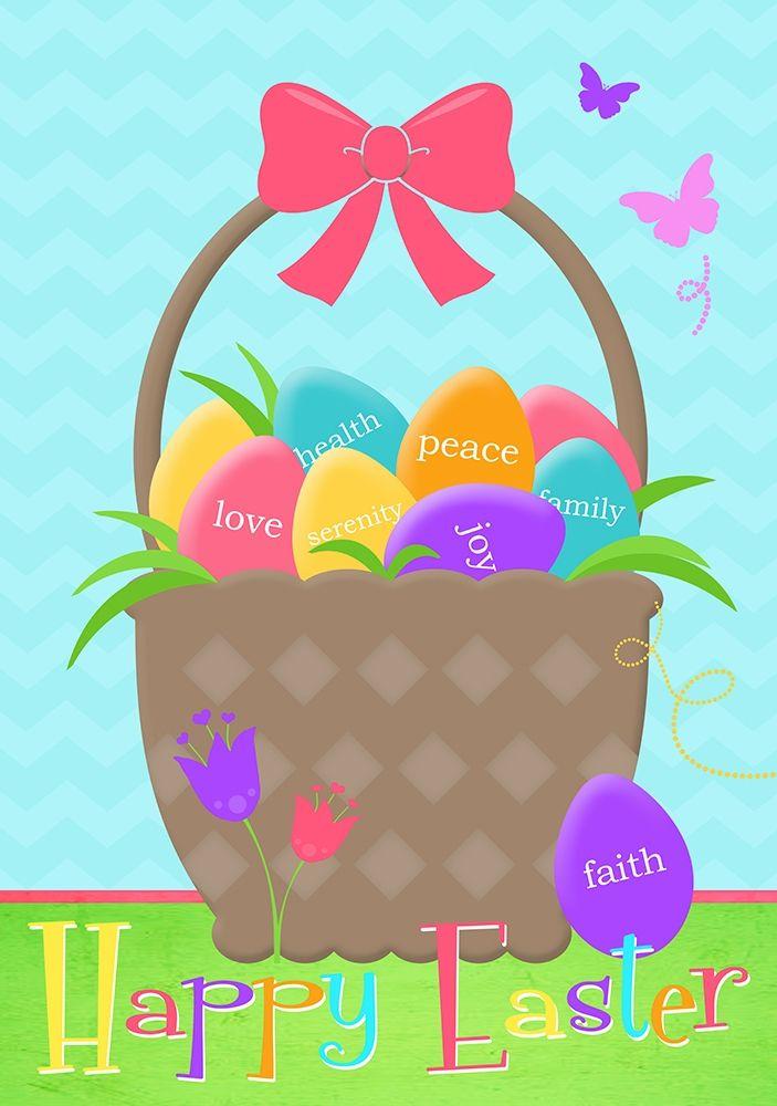 konfigurieren des Kunstdrucks in Wunschgröße Happy Easter Basket von Quach, Anna