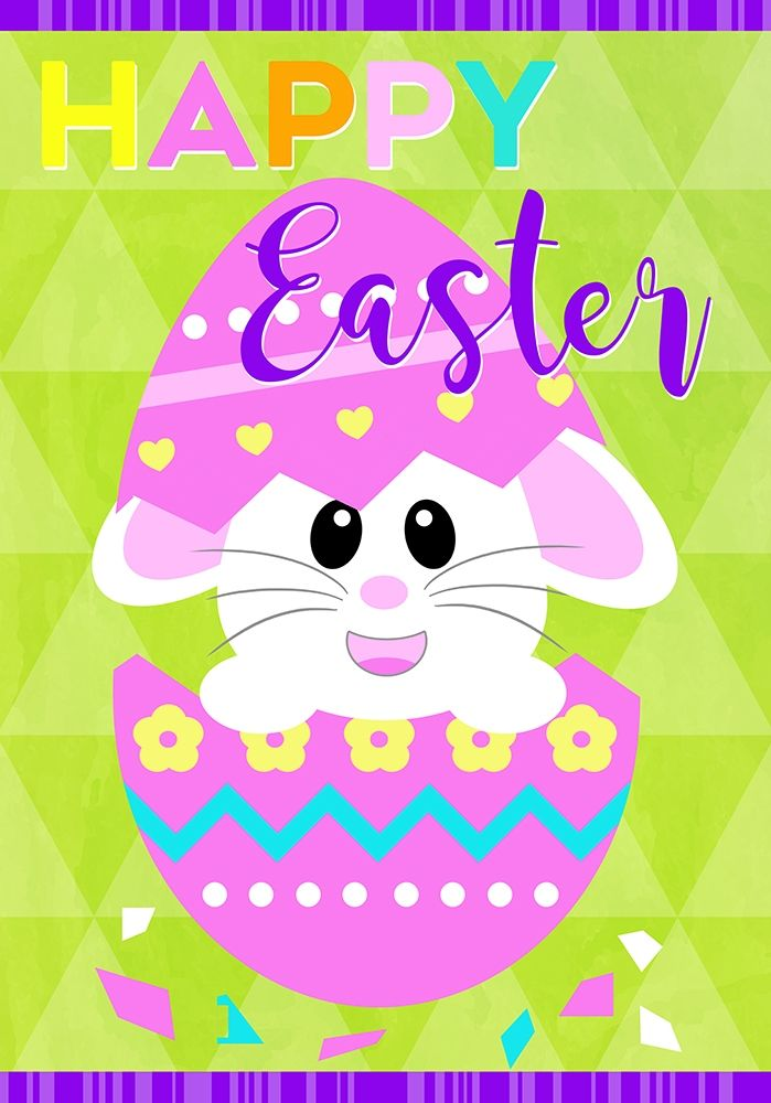 konfigurieren des Kunstdrucks in Wunschgröße Happy Easter Bunny in Egg von Quach, Anna