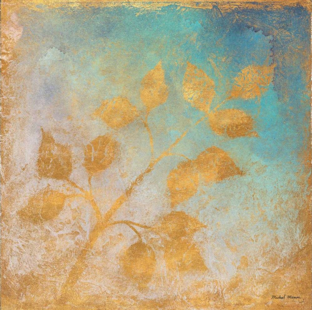 konfigurieren des Kunstdrucks in Wunschgröße Gold Leaves on Blues I von Marcon, Michael