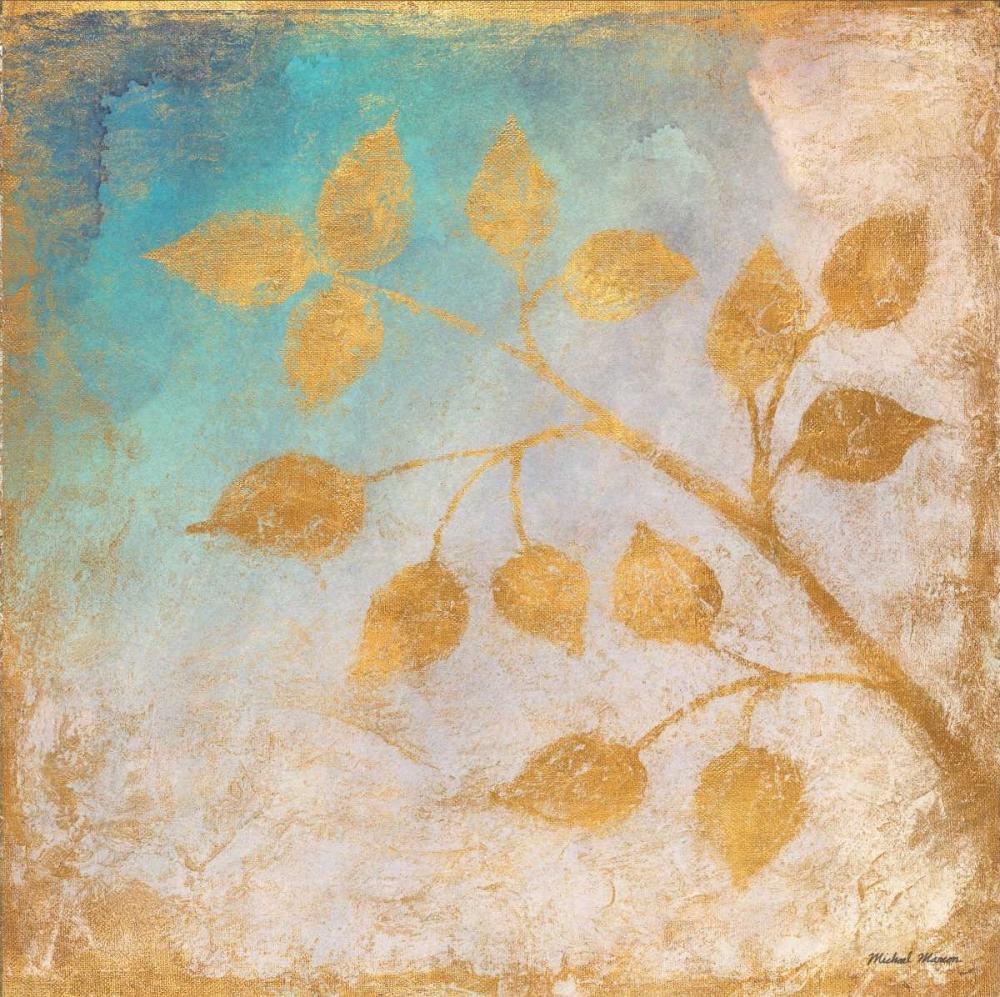konfigurieren des Kunstdrucks in Wunschgröße Gold Leaves on Blues II von Marcon, Michael