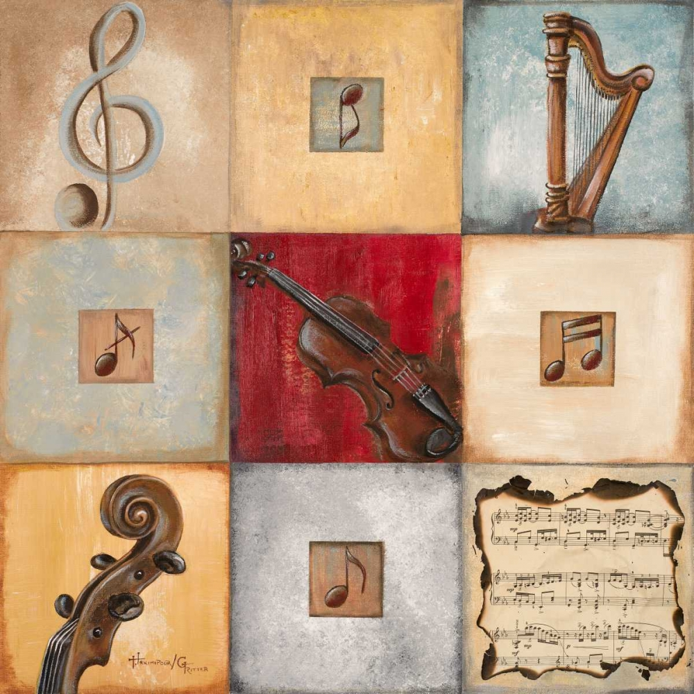 feel,the,music,arts,red,beige,blue,yellow,teal,piano,clef,violin,cello,instrument,contemporary,musical,notes,Music,,,,,6907,Feel the Music I,Hakimipour-Ritter,Square