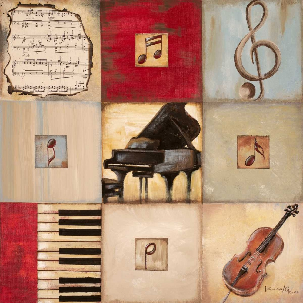 feel,the,music,arts,red,beige,blue,yellow,teal,piano,clef,violin,cello,instrument,contemporary,musical,notes,Music,,,,,6908,Feel the Music II,Hakimipour-Ritter,Square