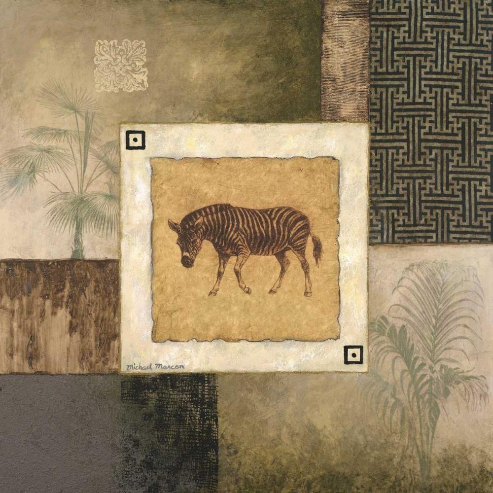 konfigurieren des Kunstdrucks in Wunschgröße Zebra Woodcut von Marcon, Michael