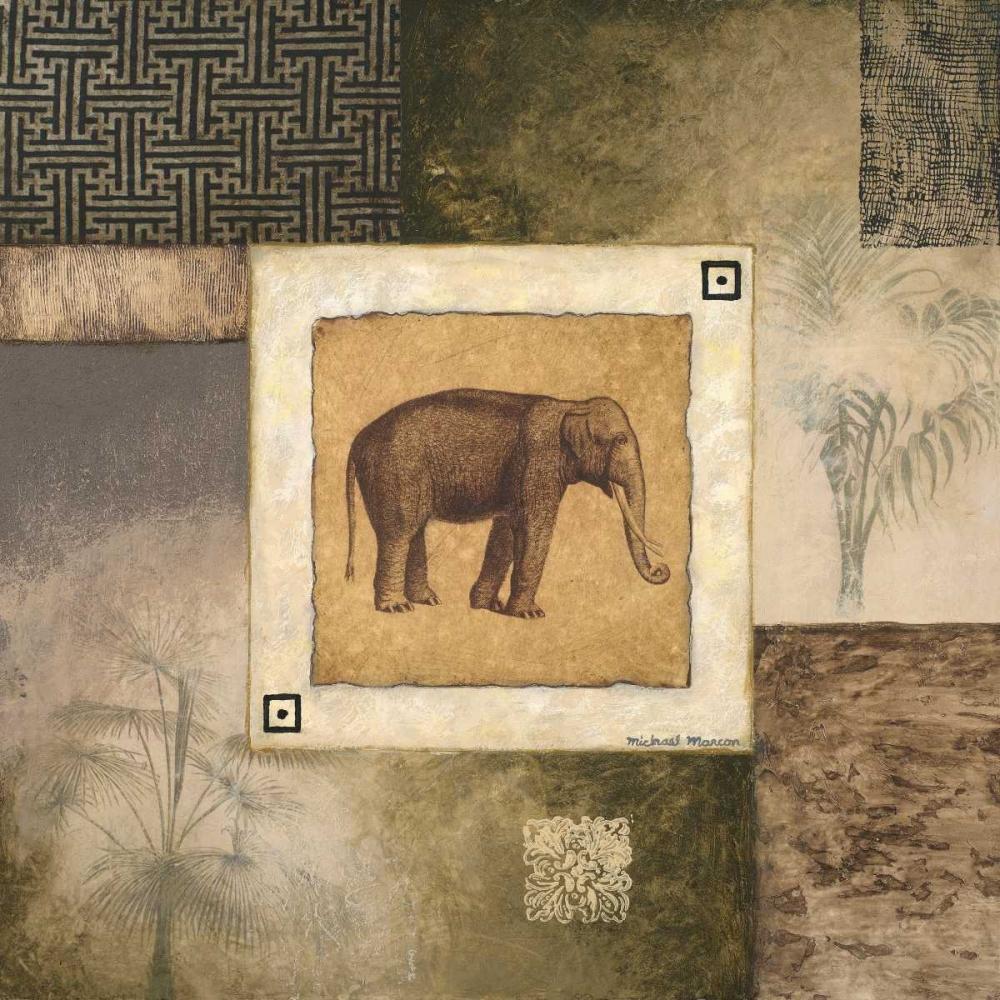 konfigurieren des Kunstdrucks in Wunschgröße Elephant Woodcut von Marcon, Michael