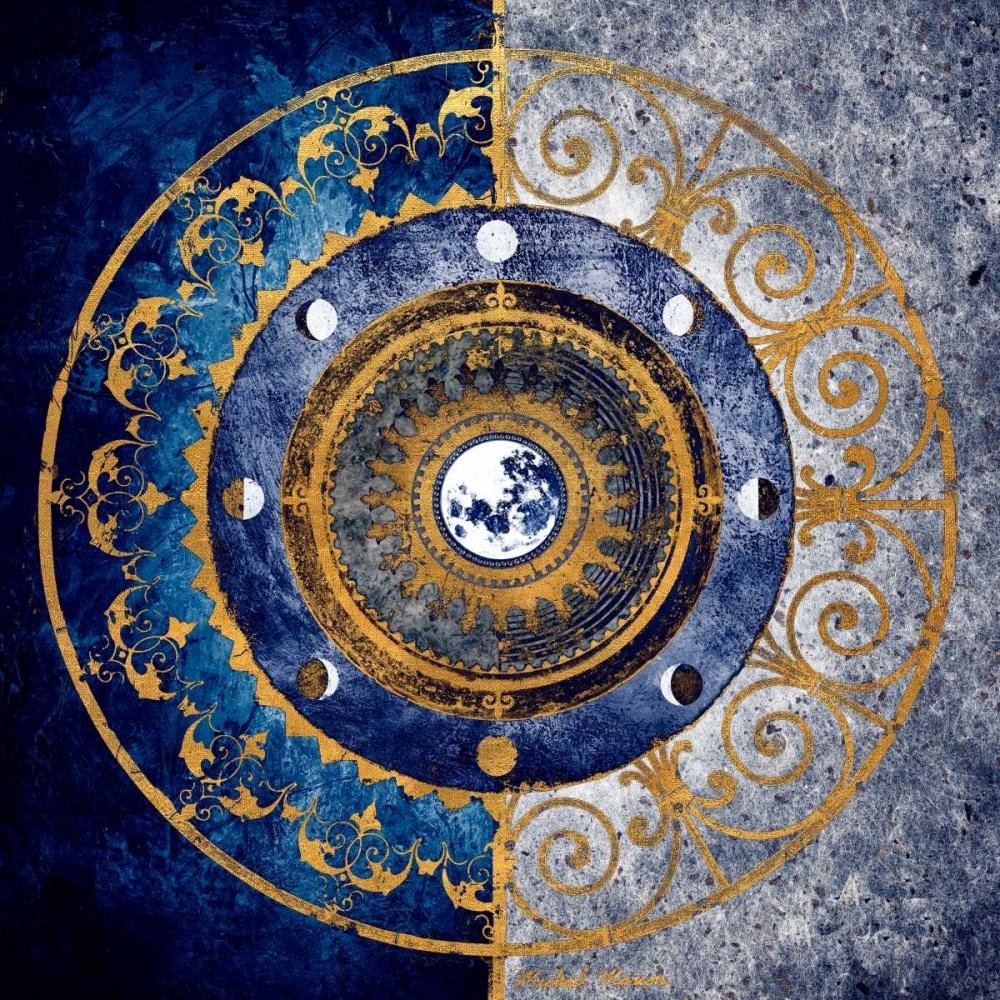 konfigurieren des Kunstdrucks in Wunschgröße Gold and Sapphire Moon Dial I von Marcon, Michael