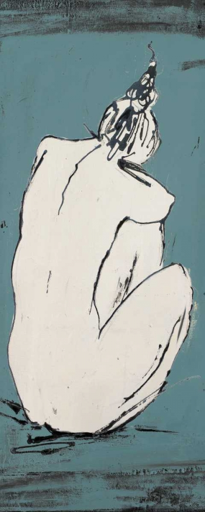 konfigurieren des Kunstdrucks in Wunschgröße Nude Sketch on Blue I von Pinto, Patricia