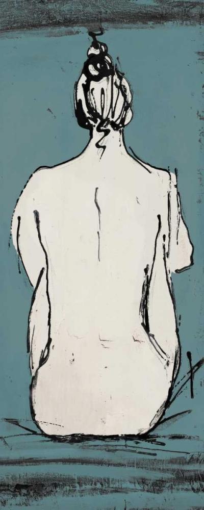konfigurieren des Kunstdrucks in Wunschgröße Nude Sketch on Blue II von Pinto, Patricia