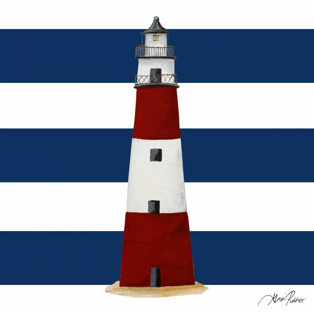 konfigurieren des Kunstdrucks in Wunschgröße Nautical Stripe Light House von Ritter, Gina