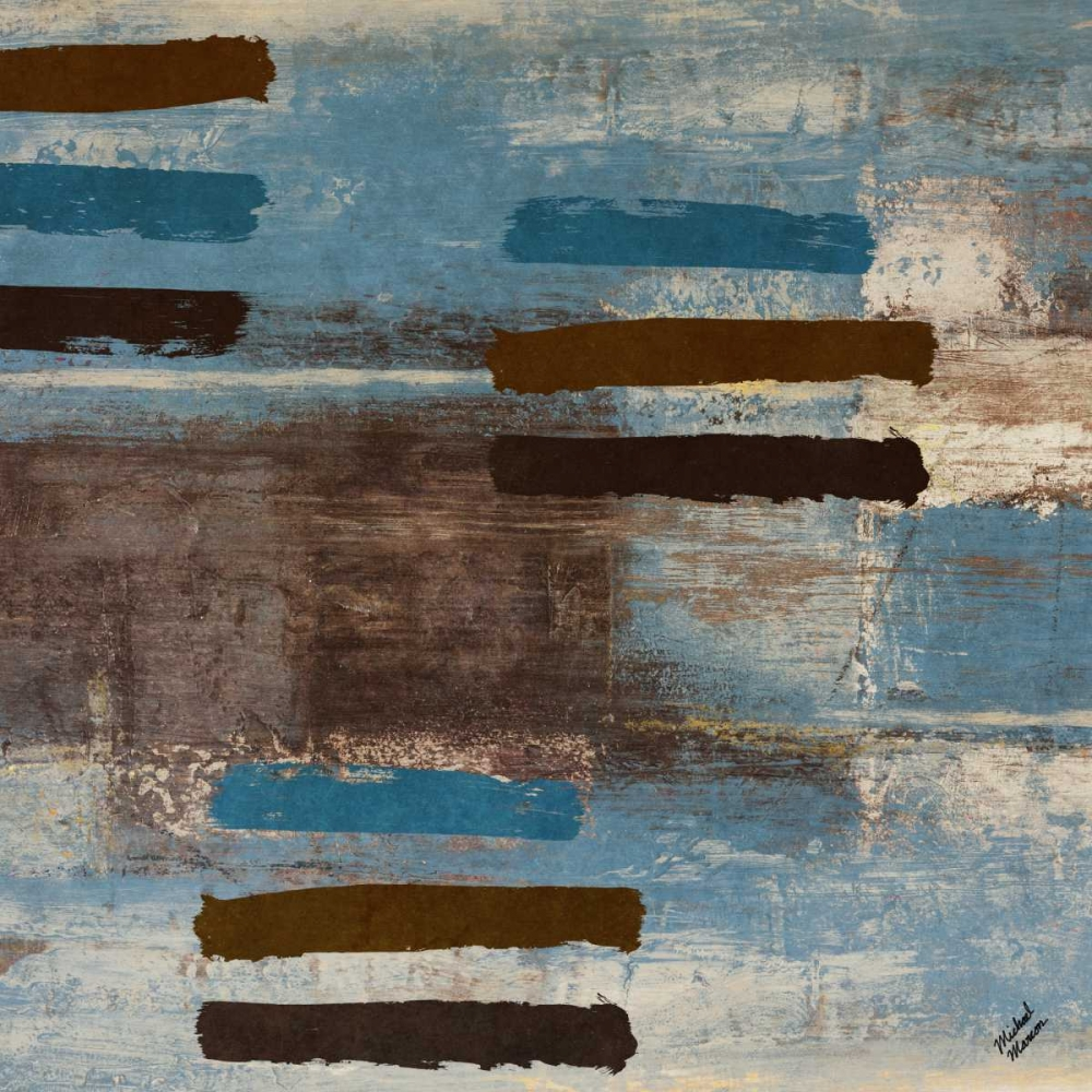 konfigurieren des Kunstdrucks in Wunschgröße Blue Bared Abstract Square I von Marcon, Michael