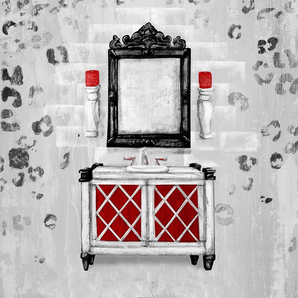 konfigurieren des Kunstdrucks in Wunschgröße Red Antique Mirrored Bath Square I von Hakimipour, Tiffany