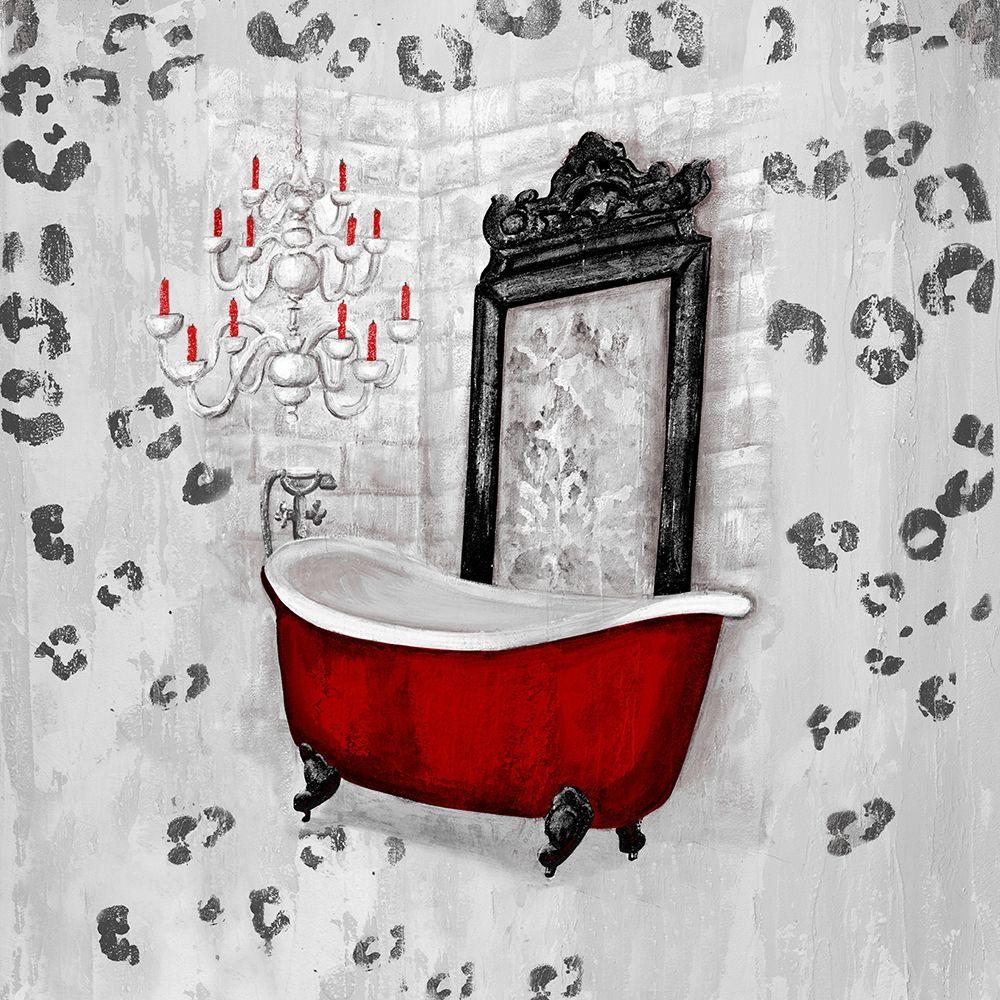 konfigurieren des Kunstdrucks in Wunschgröße Red Antique Mirrored Bath Square II von Hakimipour, Tiffany