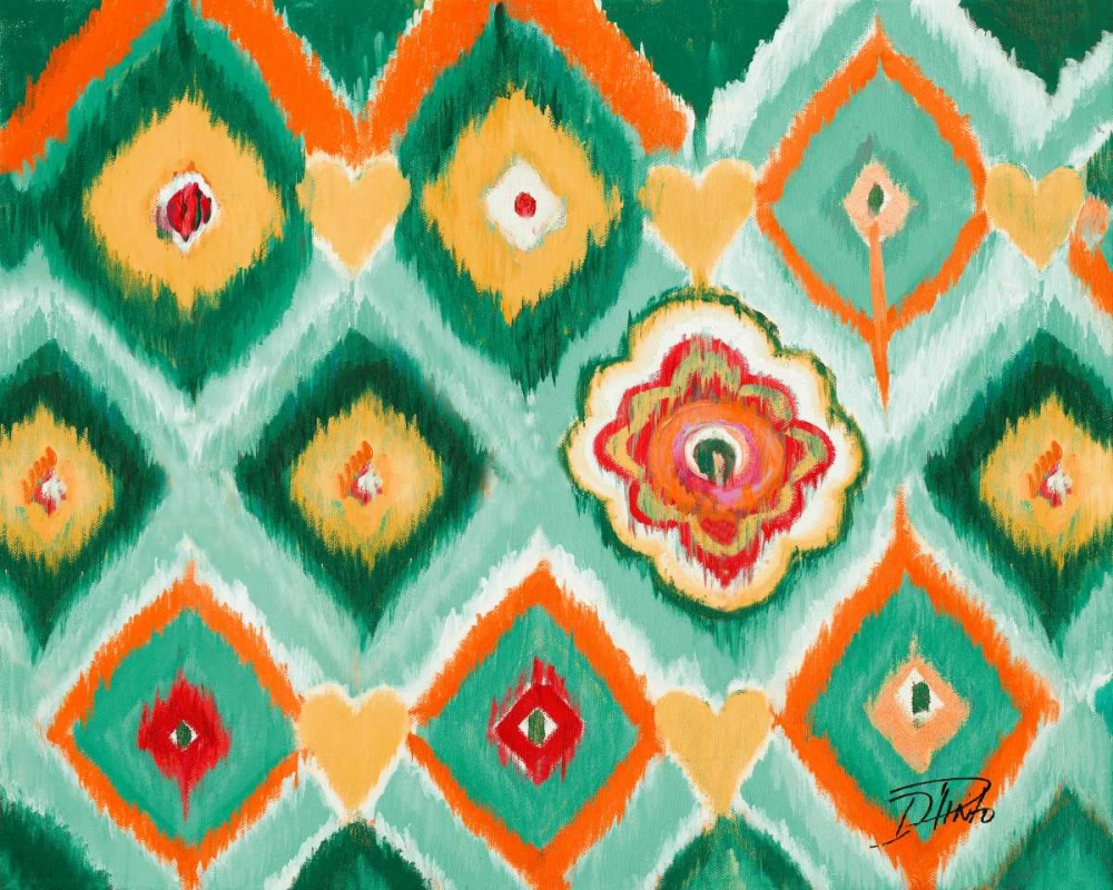 New,Ikats,blue,teal,white,light,blue,orange,green,Abstract,Patterns,,,,9911A,Tropical Ikat I,Pinto, Patricia,Horizontal