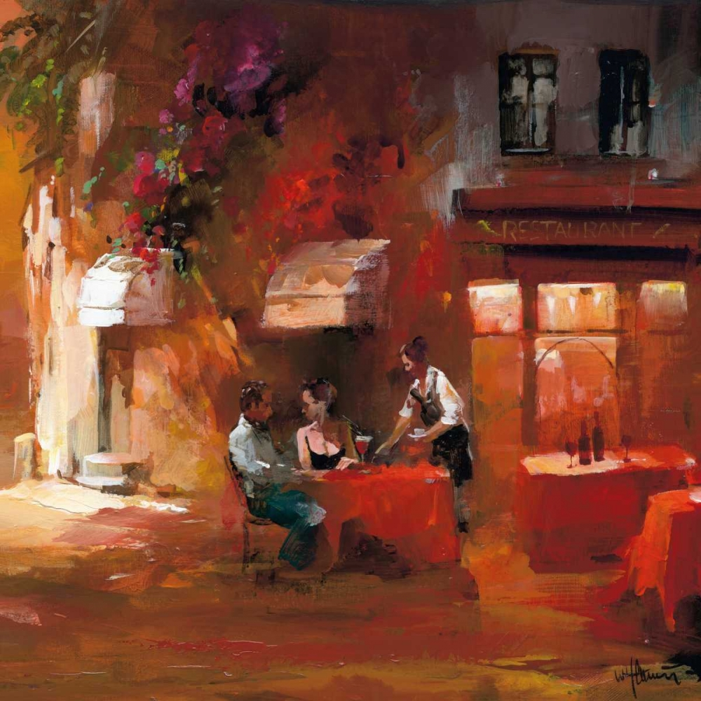 red,orange,romance,romantice,scene,eating,dinner,france,Country French,European,Contemporary,Street Scene,Decorative,GA01_02484,Dinner for two III,Haenraets, Willem,Square