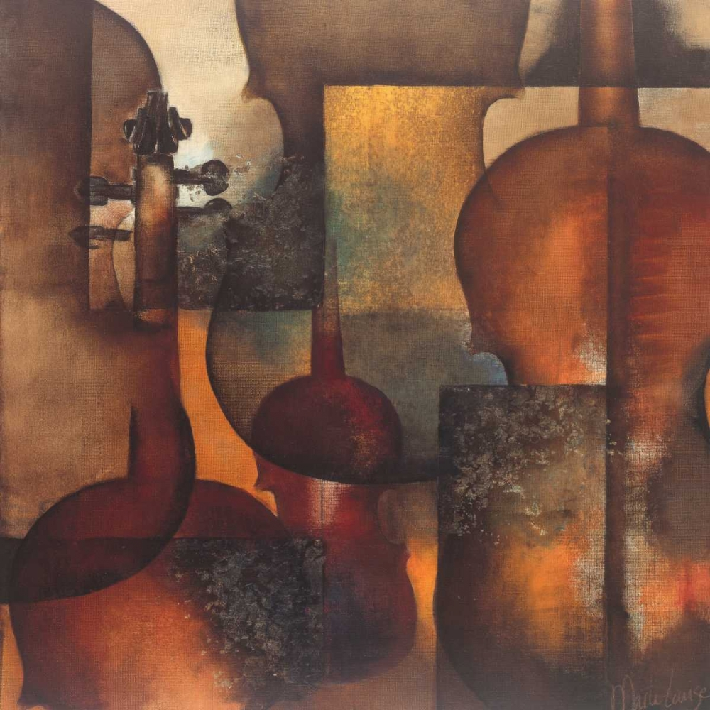 instrument,violin,design,brown,Abstract,European,Music,Contemporary,Decorative,GA01_16078,Ode to Music II,Oudkerk, Marie-Louise,Square