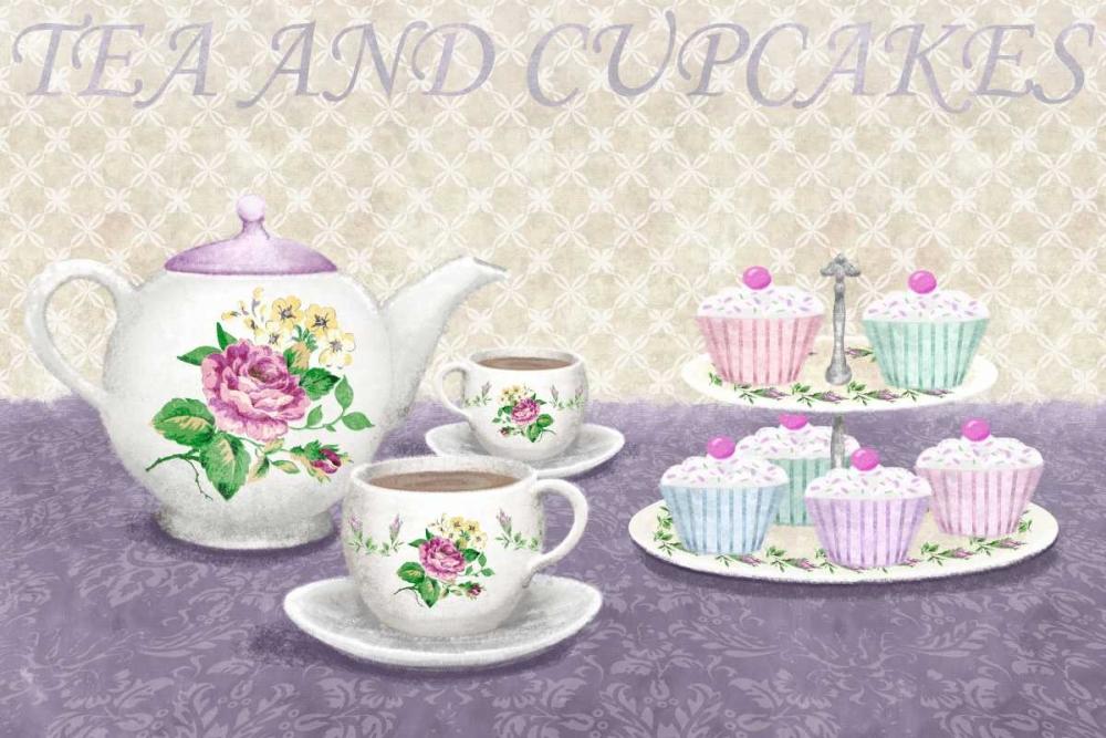 konfigurieren des Kunstdrucks in Wunschgröße Tea and cupcakes von Linda, Wood