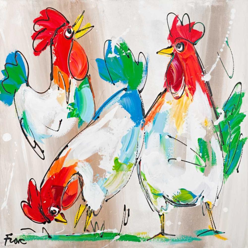 konfigurieren des Kunstdrucks in Wunschgröße Cocks Talking von Fiore, Art