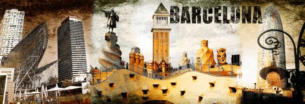 konfigurieren des Kunstdrucks in Wunschgröße Barcelona Collage 02 von Adamsky