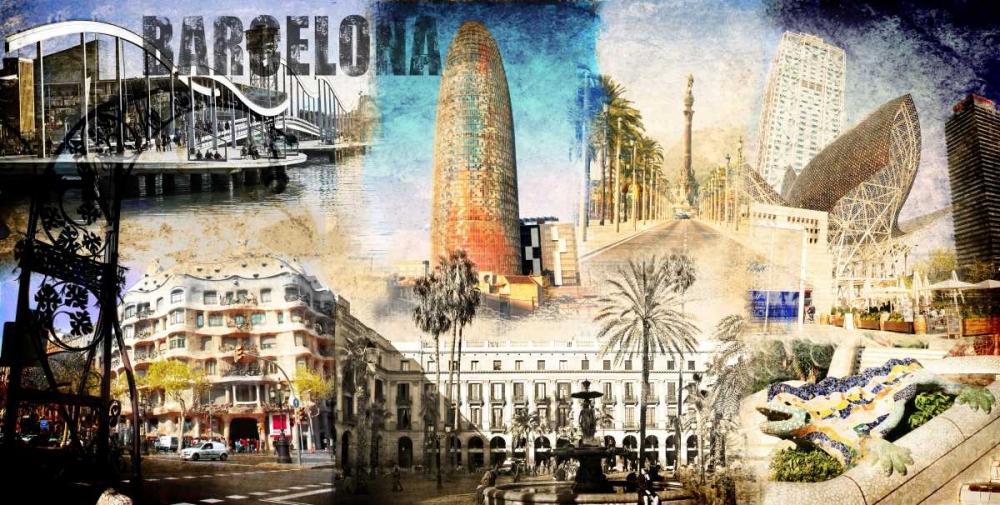 konfigurieren des Kunstdrucks in Wunschgröße Barcelona Collage 01 von Adamsky