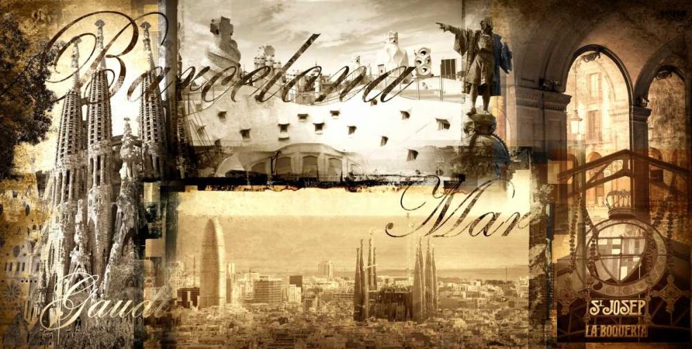 konfigurieren des Kunstdrucks in Wunschgröße Barcelona Vintage von Adamsky