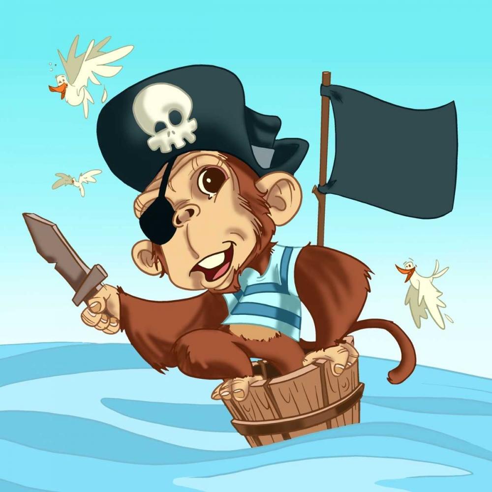 konfigurieren des Kunstdrucks in Wunschgröße The Pirate Monkey von Alvez, A. - Perez, A.