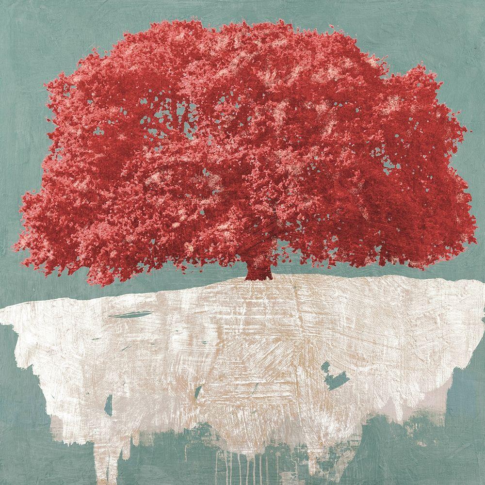 konfigurieren des Kunstdrucks in Wunschgröße Red Tree on Aqua von Aprile, Alessio