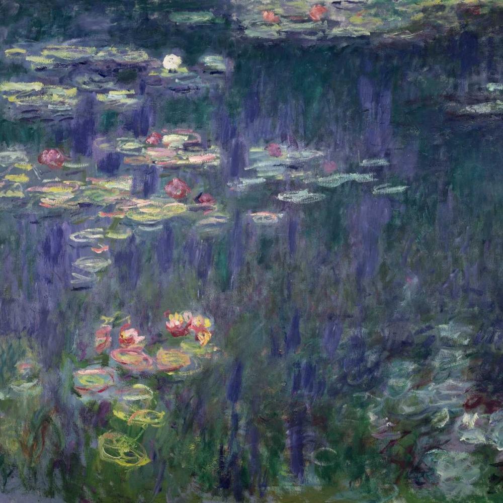 konfigurieren des Kunstdrucks in Wunschgröße Waterlilies: Green Reflections (detail) von Monet, Claude