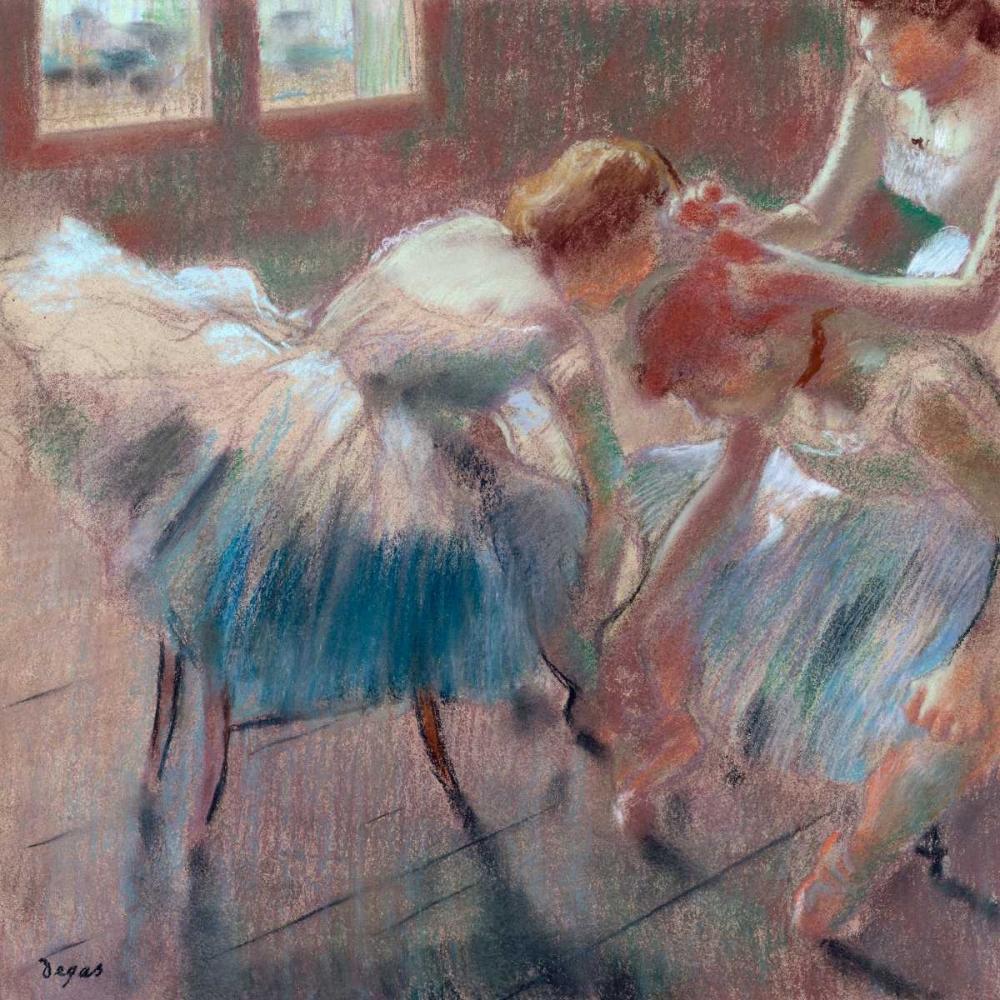 konfigurieren des Kunstdrucks in Wunschgröße Three Dancers preparing for Class von Degas, Edgar