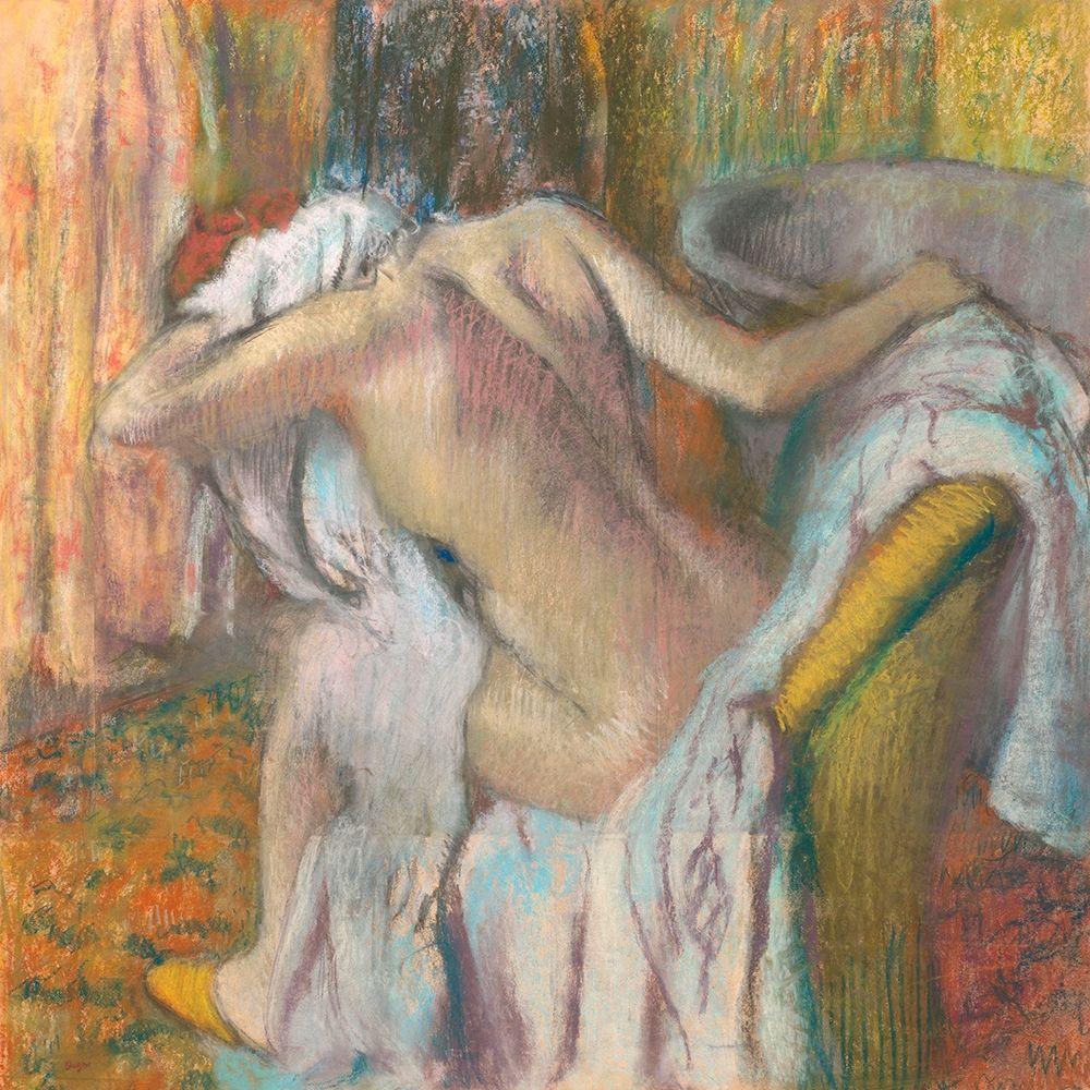 konfigurieren des Kunstdrucks in Wunschgröße After the Bath- Woman Drying Herself von Degas, Edgar