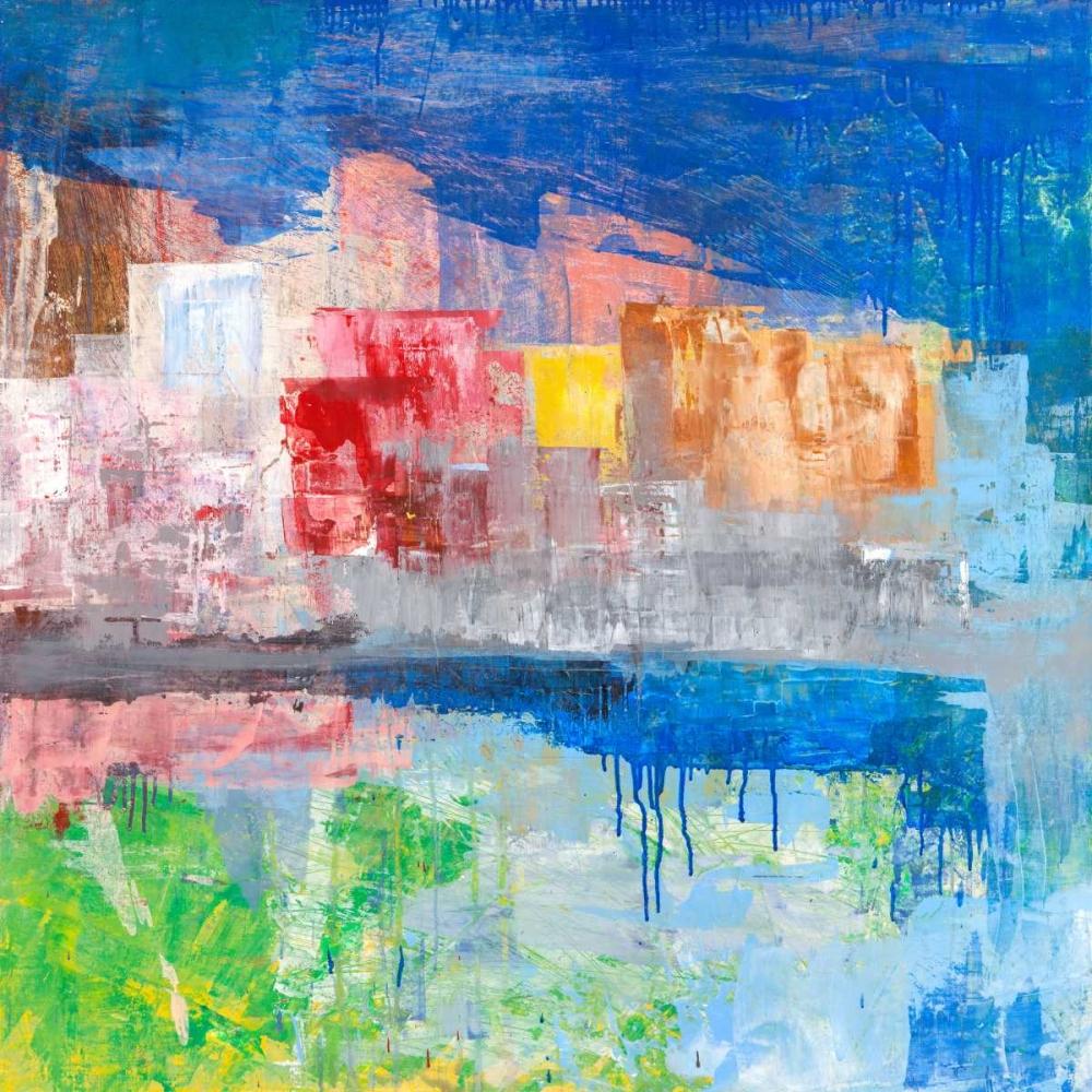konfigurieren des Kunstdrucks in Wunschgröße Villaggio sul lago von Corrado, Italo