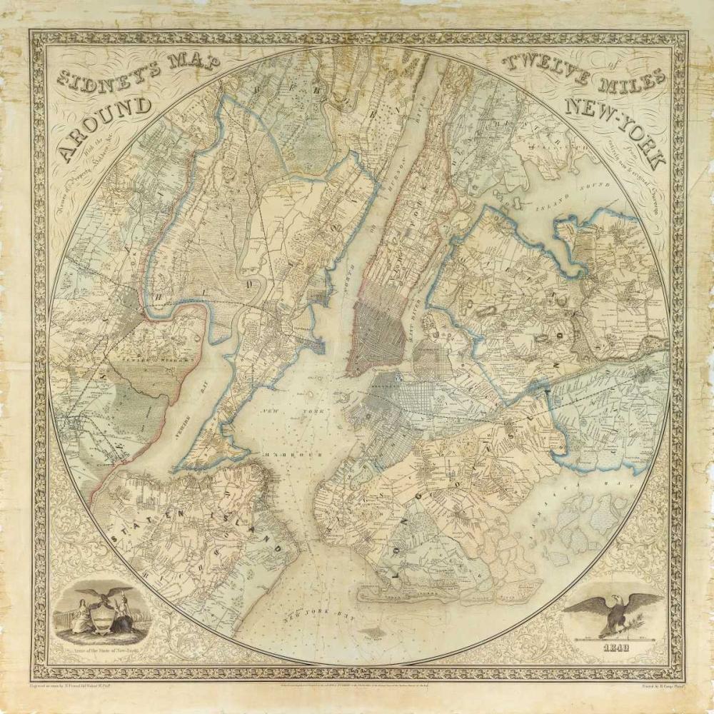konfigurieren des Kunstdrucks in Wunschgröße Twelve Miles around NY Map, 1849 von Anonymous