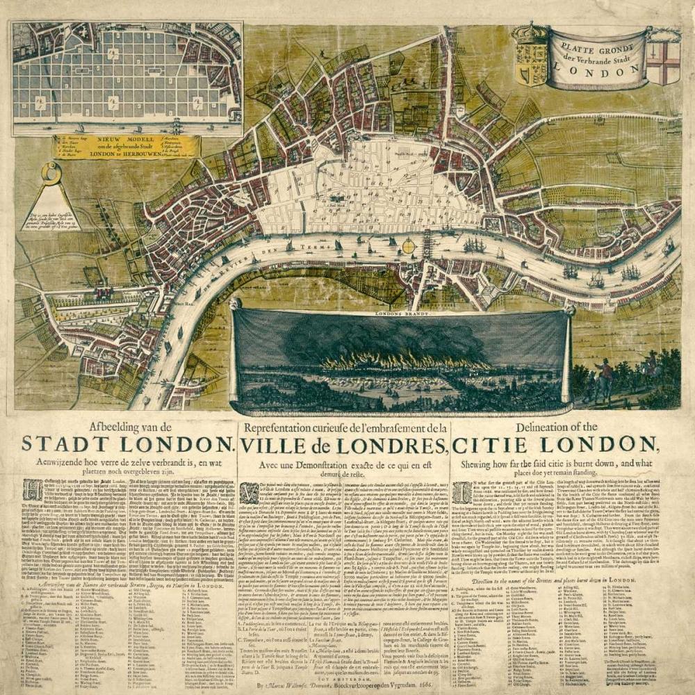konfigurieren des Kunstdrucks in Wunschgröße Map of London, 1666 von Anonymous