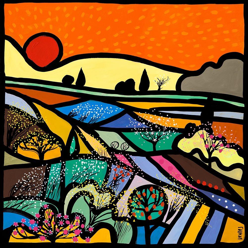konfigurieren des Kunstdrucks in Wunschgröße Lavender Fields at Sunset von Wallas