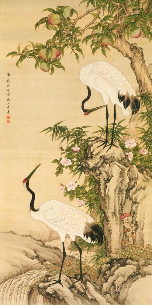 konfigurieren des Kunstdrucks in Wunschgröße Cranes, Peach Tree, and Chinese Roses von Anonymous