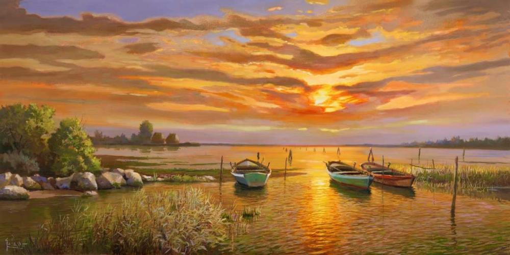 konfigurieren des Kunstdrucks in Wunschgröße Laguna al tramonto von Galasso, Adriano