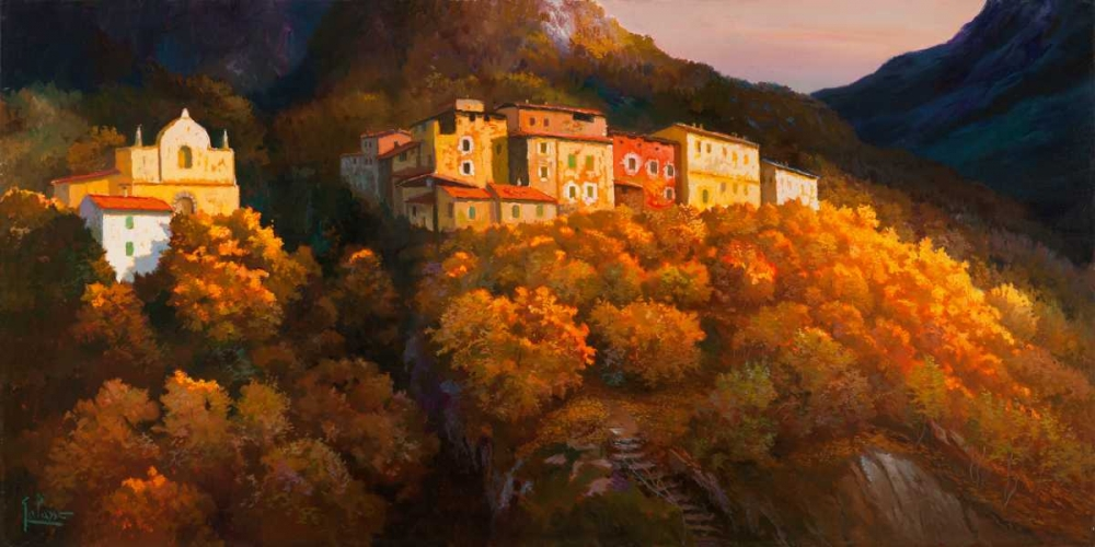 Paese sul monte von Galasso, Adriano <br> max. 191 x 94cm <br> Preis: ab 10€