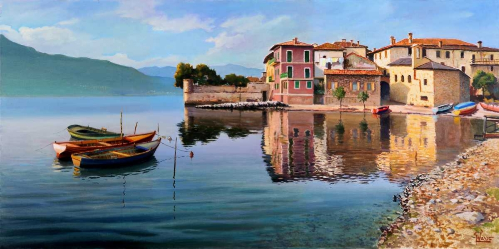 Paese sul lago von Galasso, Adriano <br> max. 191 x 94cm <br> Preis: ab 10€