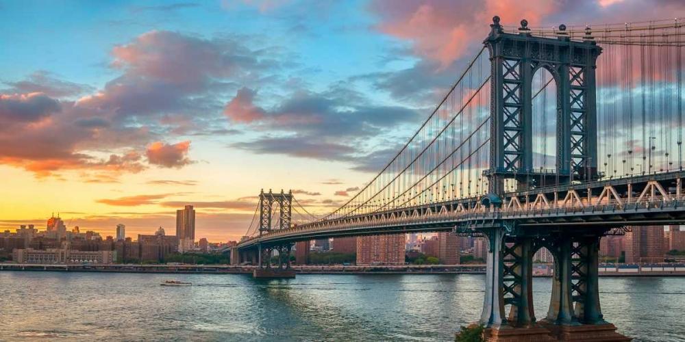 konfigurieren des Kunstdrucks in Wunschgröße Manhattan Bridge at sunset, NYC von Anonymous