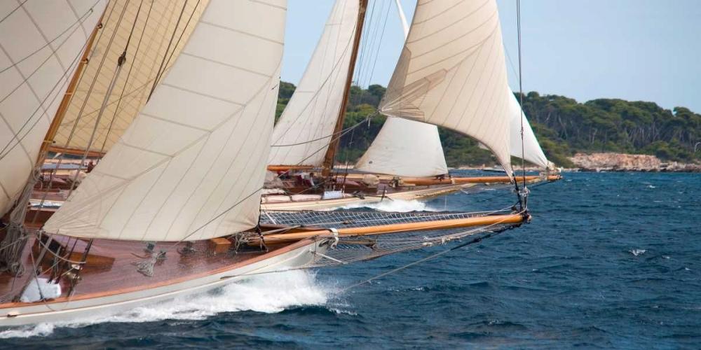 konfigurieren des Kunstdrucks in Wunschgröße Vintage sailboats raicing von Anonymous