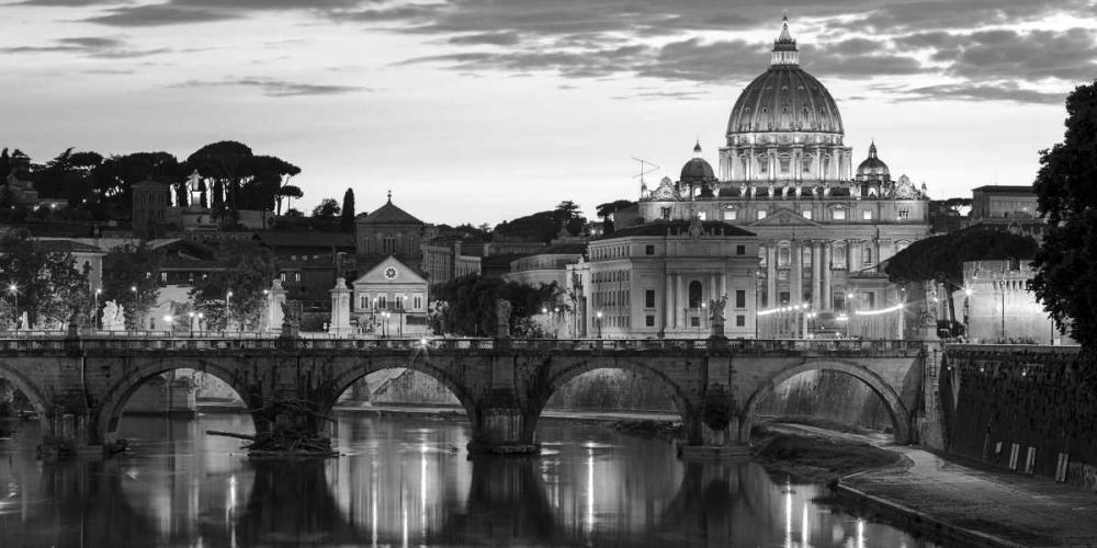 konfigurieren des Kunstdrucks in Wunschgröße Night view at St. Peters cathedral, Rome von Anonymous