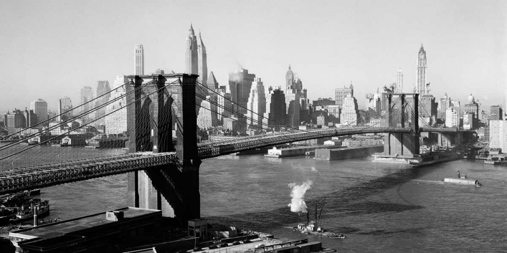 konfigurieren des Kunstdrucks in Wunschgröße Brooklyn Bridge with Manhattan skyline 1930s von Anonymous