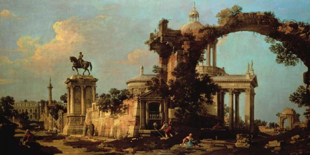 konfigurieren des Kunstdrucks in Wunschgröße Capriccio of Roman Ruins with a Renaissance Church von Canaletto