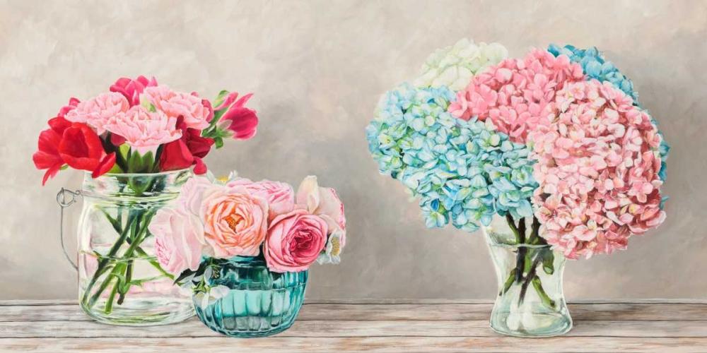 Fleurs et Vases Blanc von Dellal, Remy <br> max. 213 x 107cm <br> Preis: ab 10€
