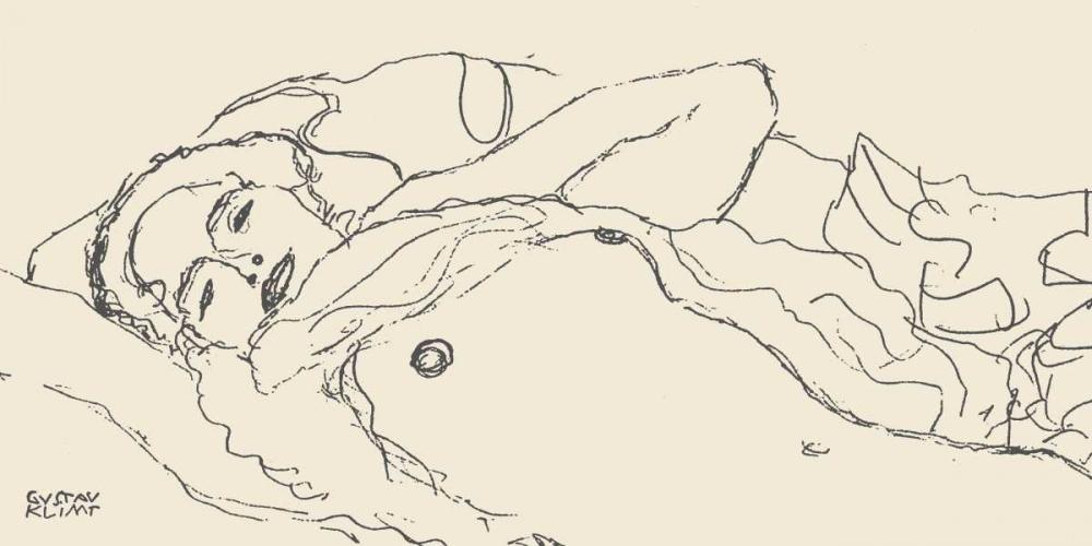konfigurieren des Kunstdrucks in Wunschgröße Reclined Woman von Klimt, Gustav