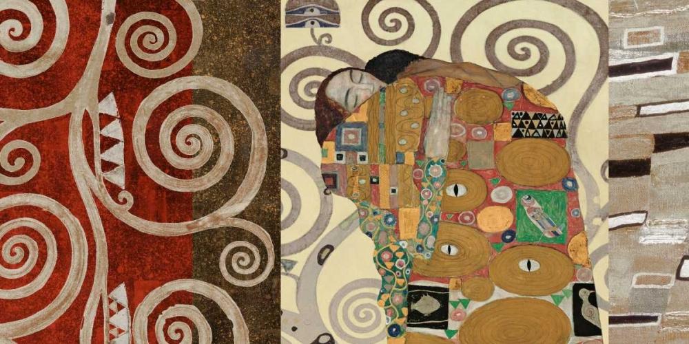 konfigurieren des Kunstdrucks in Wunschgröße The Embrace-Pewter von Klimt, Gustav
