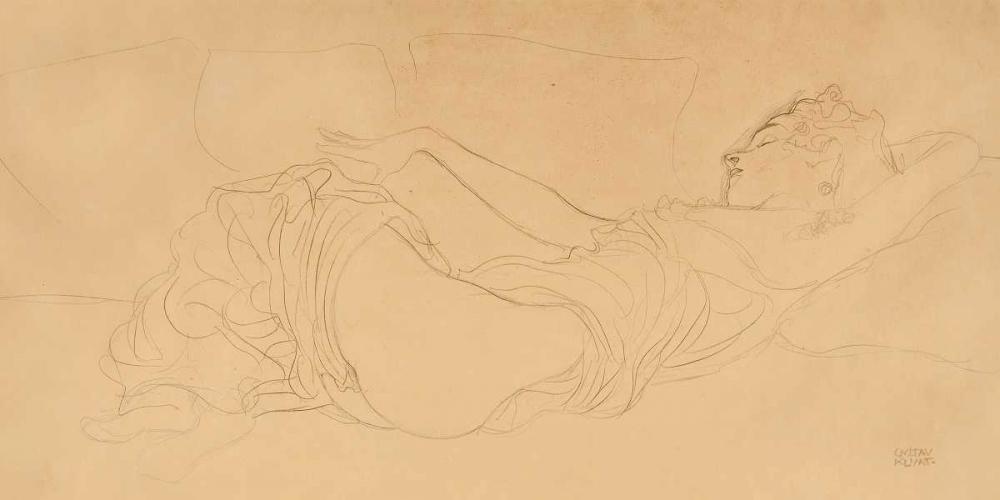 konfigurieren des Kunstdrucks in Wunschgröße Sleeping Woman von Klimt, Gustav
