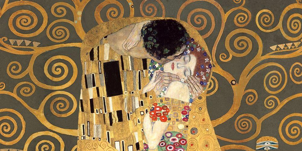 konfigurieren des Kunstdrucks in Wunschgröße The Kiss, detail (Grey variation) von Klimt, Gustav