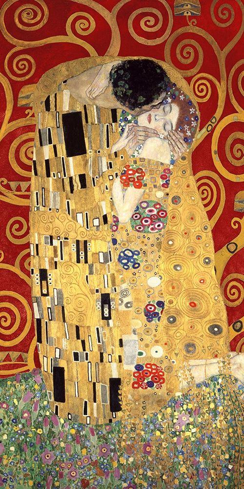 konfigurieren des Kunstdrucks in Wunschgröße The Kiss (Red variation) von Klimt, Gustav