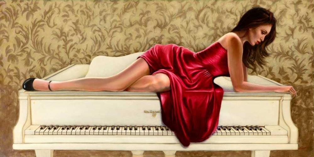 konfigurieren des Kunstdrucks in Wunschgröße Woman in red von Silver, John