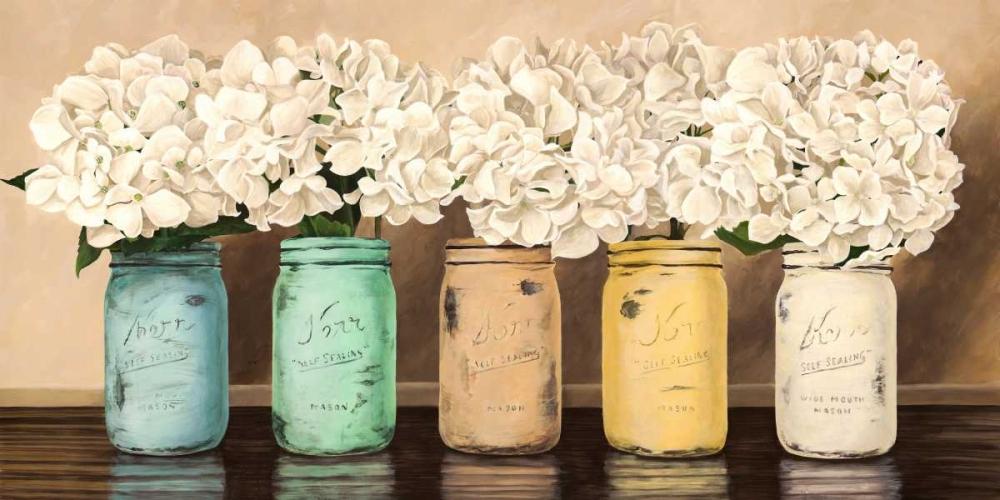 konfigurieren des Kunstdrucks in Wunschgröße Hydrangeas in Mason Jars von Thomlinson, Jenny